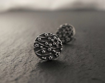 Small Round Cherry Blossom Post Earrings in Sterling Silver