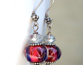 Lampwork Earrings, Glass Earrings, Sterling Silver Earrings, Dangle Earrings, Dark Pink, Swarovski Earrings