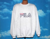 Fila Ash Gray Deadstock New with Tags Pullover Sweatshirt XXL Vintage 1990s