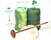 Drop Spindle Yarn Spinning Kit Available in Top or Bottom Whorl, Colorway Erin