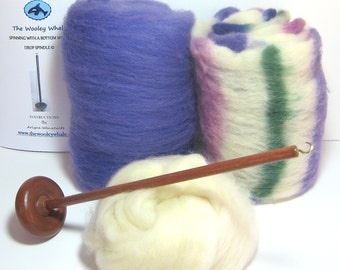 Drop Spindle DIY Yarn Spinning Kit, Grapes Available in Either Top or Bottom Whorl Free Shipping
