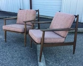 Pair of Mid Century Baumritter Wood Frame Lounge Chairs