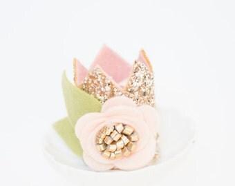 Glitter Birthday Crown // Mini Sparkle Crown // Flower Crown // Smash Cake Photo prop // Gold and Blush