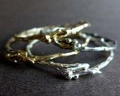 Textured Twig Bangle Bracelet, Winter Branches Cast Sterling Silver Bronze Stackable Twig Bracelets, Natural Twig Artisan Bracelet