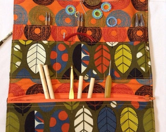 Interchangeable Knitting Needle Case - Green and Orange Leaves and Spirals