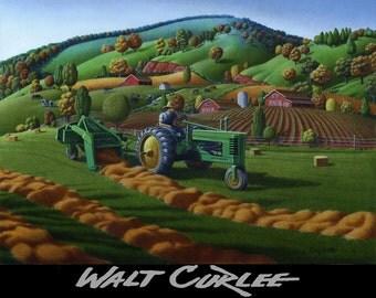 Original Oil Painjting, Farmer On John Deere Tractor Baling Hay Field Country Farm Landscape