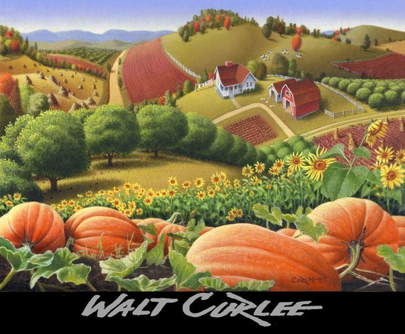 Appalachia Autumn Pumpkin Patch Country Farm Giclee Print, Thanksgiving Folkart Landscape, Amish Folk Art Rural americana