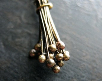 24 gauge Antiqued Brass Ball Tipped Head Pins - 20 pieces