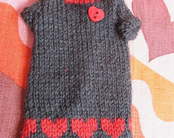 Odds & Ends SALE - Blythe:  Grey dress red heartsand heart buttons