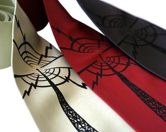 Radio Tower Necktie. Radio Transmitter Print Tie. Communication Arts. Screen printed men's necktie.  Ham radio.