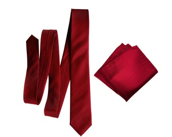 Garnet Red Silk Necktie. Woven herringbone pattern tie. Gorgeous deep red, burgundy shift in the light! Pocket squares available too!