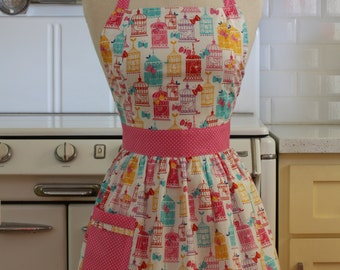 Apron Retro Style Colorful Bird Cages CHLOE Full Apron