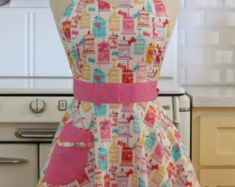 Retro Apron Colorful Bird Cages - BELLA