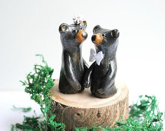 Clay Bears Cake Topper - Clay Bears - Woodland Cake Topper - Clay Black Bears - Rustic Wedding cake topper  - READY TO SHIP