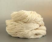 Pure banana silk yarn skein, undyed laceweight boucle natural fiber knitting crochet weaving vegan yarn, Perran Yarns ecru cream, uk seller