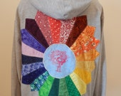 RESERVED for Challey Hays Upcycled Zip Up Hoodie Gray Patchwork Rainbow Mandala Grateful Dead Bertha OOAK Womens Size XL Extra Large Hippie