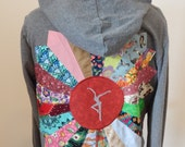 Upcycled Zip Up Hoodie Gray Patchwork Mandala FD OOAK Womens Size L Large  Hippie clothes, upcycled hoodie, womens hoodie, flower hoodie