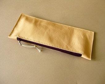 Long leather wallet - Pale peach