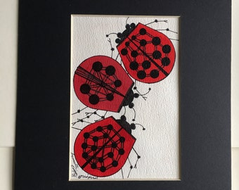 Lady Bugs-watercolors-watercolor paintings-original watercolor-small watercolor-watercolor handmade-watercolor paintings