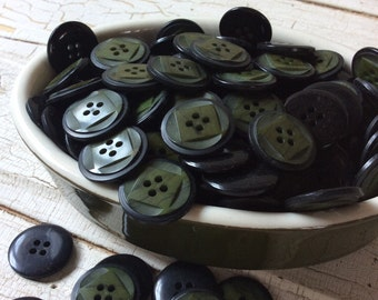 """Dark Olive Green Button/Vintage Green and Black Buttons/New Old Stock/Set of 14/7.8"""" in Diameter"""