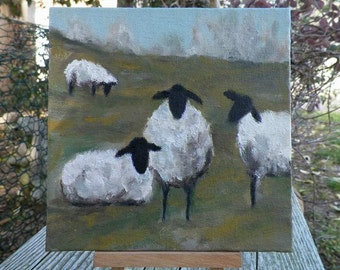 Sheep Landscape Pasture Lambs Original Oil Painting Animal Portrait by California Artist debra alouise