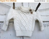 FLASH SALE-40% OFF- Vintage Knit Sweater-Baby Sweater-12 Months-White Sweater