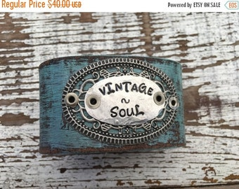 30% OFF SUPER SALE- Stamped Leather Cuff-Vintage Soul-Word Cuff-