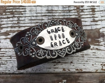 30% OFF SUPER SALE- Stamped Leather Cuff-Grace Upon Grace-Word Cuff-