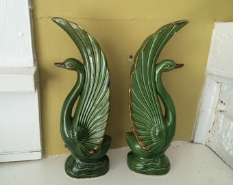 JAPAN Green Ceramic Swans / Art Nouveau Style
