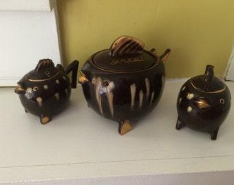 Redware Fish Salt Pepper and Grease Jar / Tilso Japan / Pottery