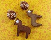 Wooden Horse Earrings - upcycled toys, googly eyes, brown earrings, folk folky rustic, boho bohemian, cute kitsch pony, dala dalecarlian