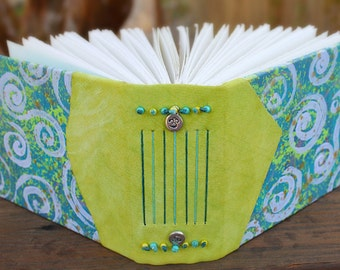 Chartreuse Green and Blue SWIRLY Mixed Media Hand Painted and Bound Art Journal GUEST Bridal WEDDING Book Blank Sketch Book Leather Spine