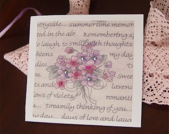 Gift tag gift wrap folded hang tag flowers gems gift cards sparkles
