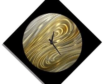 Black, Silver & Gold Modern Metal Wall Clock - Handmade Functional Abstract Art - Contemporary Home Decor - Moon Safari Clock by Jon Allen