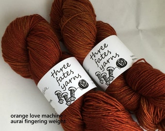 orange love machine  - aurai fingering weight merino yak nylon sock yarn, dyed to order