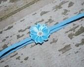 blue baby headband, shabby chic, toddler girl, baby girl, baby turban, head wrap, classy baby, flower girl, newborn headband, flower, rose
