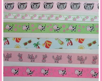 Little Girls Grosgrain Ribbon Kitty Cats Beach Scene Cows Strawberries Hot Pink Lime Gray Black