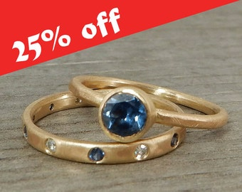 CLEARANCE - Sapphire Stacking Rings - Fair Trade Malawi Blue Sapphire, Moissanite, and Recycled 14k Yellow Gold Rings - size 6
