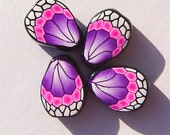 Purple Pink Butterfly Wing Handmade Artisan Polymer Clay Beads
