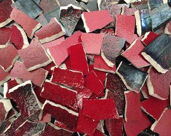 Mosaic Tiles Mix Broken Plate Art Hand Cut Pieces Mixes Pottery China Solid Fillers 200 Red and Black