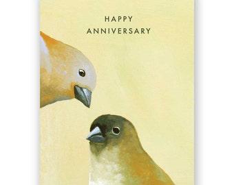 Birds Anniversary Card - Congratulations - Greeting - Pair - Animal - Nature - Mincing Mockingbird