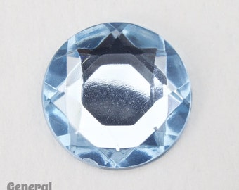 15mm Light Sapphire Faceted Round Cabochon (2 Pieces) #3895