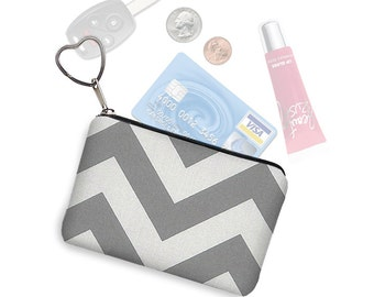 CLEARANCE Small Zipper Pouch Coin Purse Keychain Key Fob Business Card Holder Purse Organizer Gray Chevron Fabric Change Purse  White  RTS