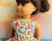 American Girl Doll Clothes Dress Rainbow Heart Valentine Dress