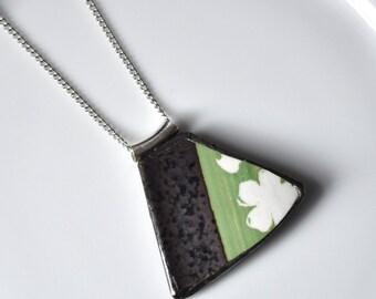 Broken China Jewelry Pendant - Black Green and White Japanese