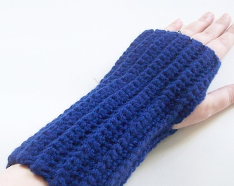 Crochet Fingerless Gloves, Navy Blue Gloves, Warm Gloves, Winter Gloves, Handmade Gloves, Hand Crochet Gloves, Texting Gloves, Wrist Warmers