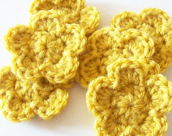 Crochet Flower Appliques, Mustard Yellow Flower, Crochet Flower Embellishment, Scrapbooking, Set of 6,  Crochet Flower Motif