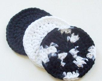 Crochet Face Scrubbies, Cotton Face Scrubbies, Black White Face Scrubbies, Set of 3, Make up Remover, Facial Scrubbies, Reusable