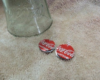 Earrings -- Recycled Upcycled Aluminum Can -- Coke with Olympic theme