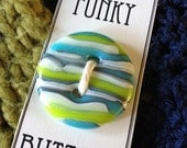Turquoise, Lime & Cream Large Round Glass Funky Button